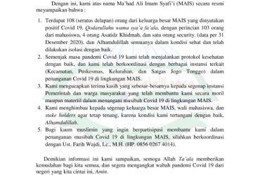 Informasi Resmi MAIS Tentang Musibah Covid-19